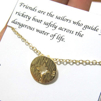 """Friendship compass necklace gift, """"Friends are the sailor"""", Best Friend compass necklace gift, compass necklace, best friend birthday gift"""