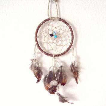 Dream Catcher Hemp Brown Feathers Blue Beads Dream Catcher Natural