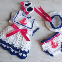 Baby Sailor Outfit, Newborn sailor Dress, Navy baby Dress, Baby Girls sailor Dress, Nautical Dress, Girl Dresses, Sailor Hat, Sailor Hats
