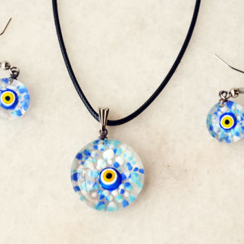 Blue Murano Glass Turkish Evil Eye Jewelry Set - Matching Earrings Necklace - Lamp Work - Matching Earrings Pendant - Turkish Evil Eye