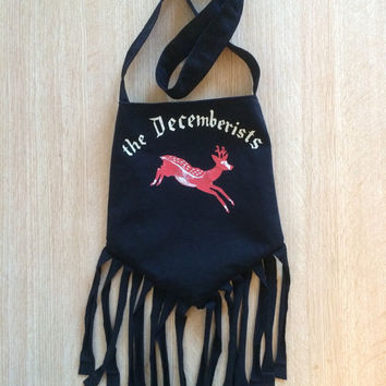 THE DECEMBERISTS - Upcycled Rock T-Shirt Fringe Purse - ooaK