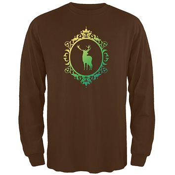 Deer Silhouette Brown Adult Long Sleeve T-Shirt