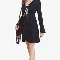 Black V-neck Bell Sleeve Dress from EXPRESS