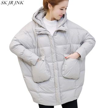 2017 Loose Cocoon Winter Hooded Warm Padded Jacket Fashion New Women Casual Wadded Parka Long Coat Plus Size Cotton Parka HCY82