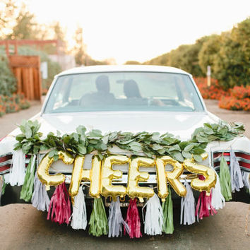 CHEERS letter balloons - gold foil mylar letters - balloon banner kit only