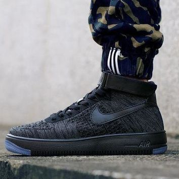 PEAPNW6 Originals Nike Air Force One 1 Flyknit Mid Black Running Sport Casual Shoes '07 817420-010 Sneakers