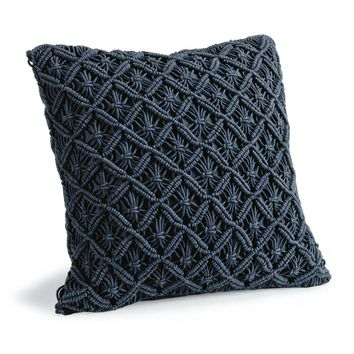 Regina Andrew Design Daisy Blue Macramé Pillow | New Decor | What's New! | Candelabra, Inc.