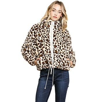 Umgee USA Women's Animal Print Long Sleeve Faux Fur Zip Front Jacket with Waist Tie