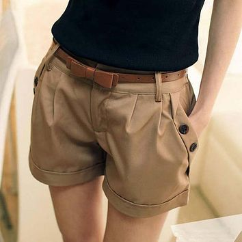 Women's Cute Summer Shorts With Zipper Fly and Pockets.   Available in Black and Khaki.   Sizes From Small to 5XL.   ***FREE SHIPPING***