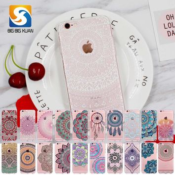 2017 New Phone Case Cover For iPhone 6 6S Soft Silicon Black Colorful Hollow transparent HENNA OJIBWE DREAM CATCHER Ethnic Triba