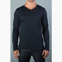 {the common good} Slim Long-Sleeve Rolled-Hem Henley in Memphis Navy Blues