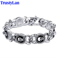 TrustyLan Fashion Jewelry 22CM Heavy Chain Link Stainless Steel Skull Bracelet Man Cool Men's Bracelets Bangles Wristband Gift