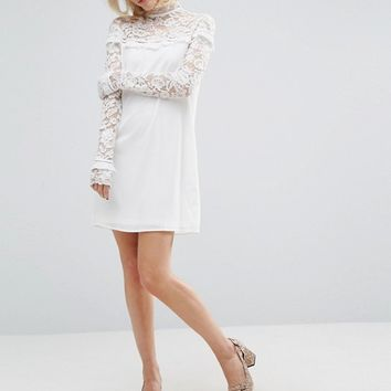 Fashion Union Lace Panel Shift Dress With Ruffle Detail at asos.com