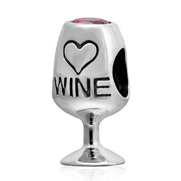 Red Wine Lover Glass Charms Authentic 925 Sterling Silver with Red Cubic Zircon Love Heart Bead Charms