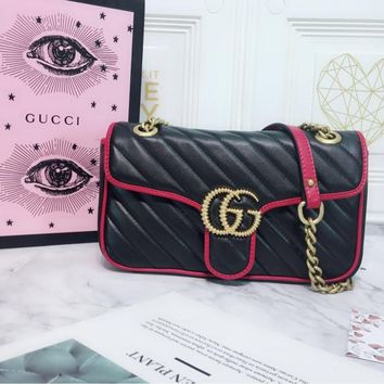 HCXX 19July 286 Gucci 443497 GG Marmont Chain Shoulder Backpack Flip buckle Twisted quilted leather Shoulder bag 26-15-7