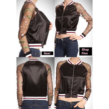 My Mood Satin Crop Top Bomber Jacket