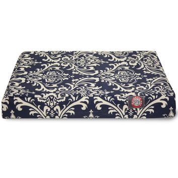 Navy Blue French Quarter Orthopedic Memory Foam Rectangle Dog Bed by Majestic Pet Products