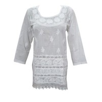 Mogul Womens White Peasant Blouse Tunic Embroidered Cotton Kurti Top - Walmart.com