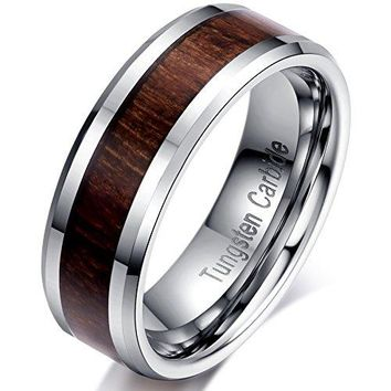 6mm Tungsten Carbide Wedding Ring Brown Wood Inlay Engagement Promise Band
