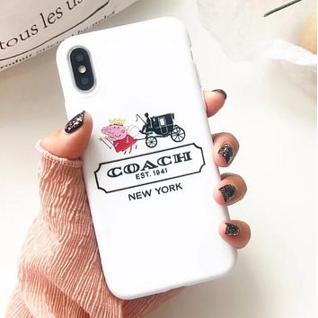 Coach X Champion X Peppa Pig New Popular Women Men Cute Phone Soft Case For iphone 6 6s 6plus 6s-plus 7 7plus 8 8plus X I12650-1