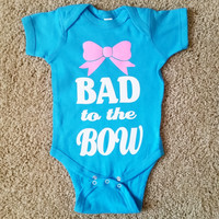 Bad to the Bow - Girls Onesuit -  Body Suit - Glitter  - Onesuit - Ruffles with Love - Baby Clothing - RWL - On Wednesdays - Mommy's Princess - Diva