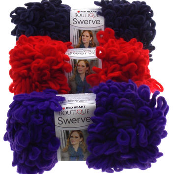 Lot 3 Skeins Ball Swerve Yarn Red Heart Boutique Red Navy Blue Purple Loop Bulky