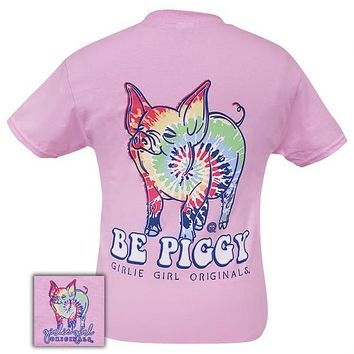 Girlie Girl Originals Preppy Tie Dye Pig Pattern Light Pink T-Shirt