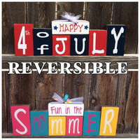 Reversible Summer and 4th of July wood blocks--Summer time reverses with Happy 4th of July