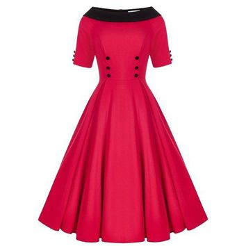 DCCKM83 Summer Sexy Red Sleeveless Women 50's Rockabilly Vintage Style Dress  Size SM-XXL
