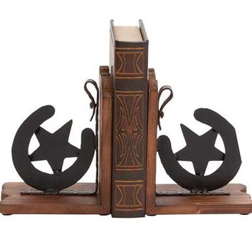 Cowboy Themed Classy Wooden Metal Horse Shoe Bookends