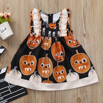 TELOTUNY  Baby Girls summer  fashion Infant Toddler Baby Girls Pumpkin Print Ruched Dresses Halloween Costume Outfits Aug 11