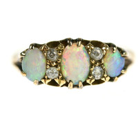 1898 Victorian 18k Opal & Diamond Engagement Ring