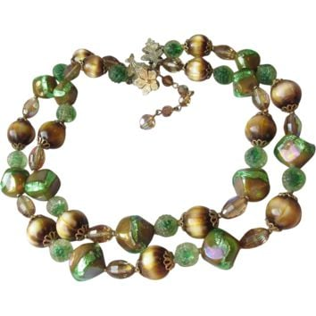 Vintage 1960's Signed VENDOME Double Strand Green Foil Glass, Brown Cat Eye & Crystal Bead Necklace