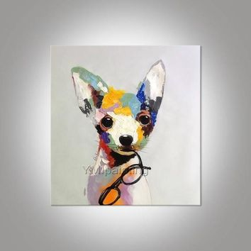 Dog canvas paintings on canvas acrylic pet painting pop art animals painting extra large wall art home decor hand-painted abstract painting
