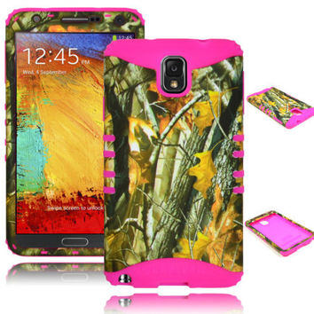 Samsung Galaxy Note 3 III Hybrid Mossy Leaf Camo Case + Pink Silicone Cover