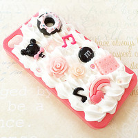 Hot Pink iPhone 4/4S Case - Decoden Hard Phone Case - Sweets - Candy, Flowers, Rainbow, Music, Donut - Kawaii - Hime Gyaru - Whipped Cream