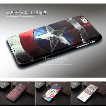 Captain America Coque for iPhone 6s Soft Silicon 3D Stereo Relief Painting Phone Cases Covers Protector For iPhone 6 4.7 inch
