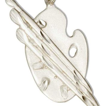 Sterling Silver Paint Brushes With Artist Palette Pendant
