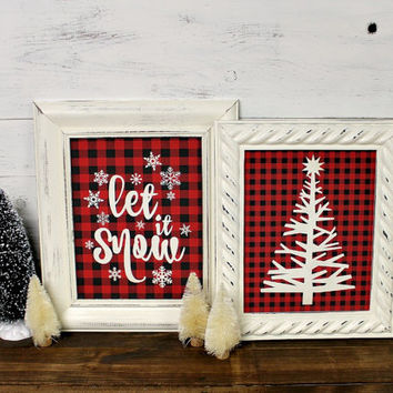 Let it Snow Art Print Framed - Lodge Christmas - Buffalo Plaid - Rustic Christmas - Let it Snow - Red Black Plaid - Framed Art - Christmas