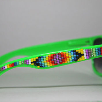 Beaded Sunglasses Tribal Design Green Wayfarers