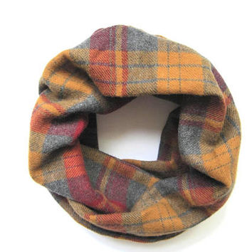 Fall Plaid Scarf, Toddler Scarf, Flannel Scarf, Girl Scarf, Boy Scarf, Childrens Scarves, Baby Bib Scarf, Christmas in July, Ready to Ship