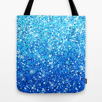 Blue Glitters Sparkles Texture Tote Bag by Tees2go