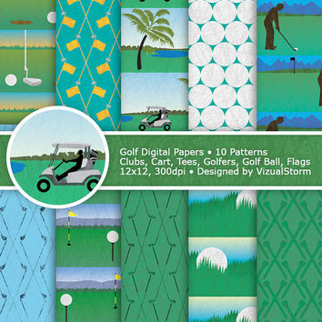 Golf Digital Paper, Printable Golf Papers, golf tees, golf balls, golfers, golf clubs, golf course, golf flags, golf cart, Buy 2 Get 1 Free