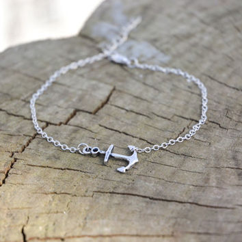 Anchor anklet dainty silver chain anklet with by ShaniAndAdi