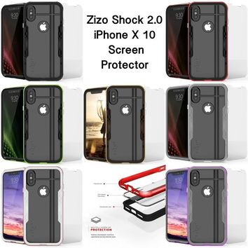 Zizo Shock hard slim rugged shockproof clear phone case cover for iPhone X 10