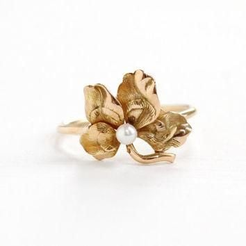 Antique Art Nouveau 14k Rose Gold Flower & Seed Pearl Ring- Vintage 1900s Victorian Ed