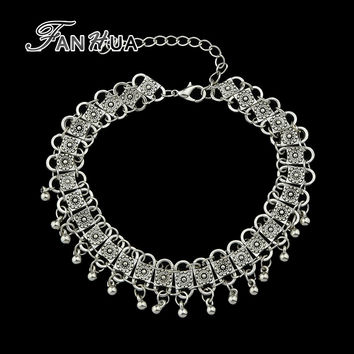 FANHUA Vintage jewelry Antique Silver Color Charm Chain Necklace Indian Style Ethnic Choker Necklace for  Women