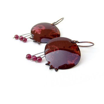 Pomegranate enamel earrings dangle drop fall autumn jewelry fashion harvest garnet maroon merlot copper OOAK by Alery