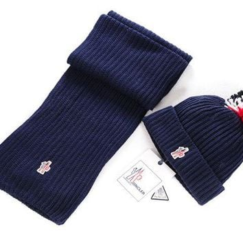 Moncler New fashion two piece scarf Hairball knit cap Navy blue