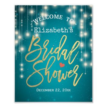 Turquoise String Lights Bridal Shower Welcome Sign Poster